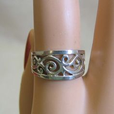 Wide Filigree Scrollwork Sterling Silver Band Style Ring by PandPF