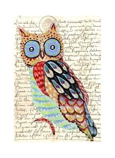 Whimsical Owl Painting art collage print by irinashop on Etsy