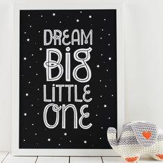 Dream Big Starry Monochrome Print