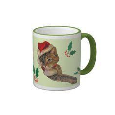 Santa Kitty with Holly Mugs