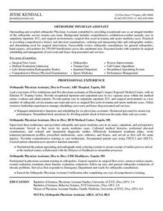 Clinical Orthopedic Assistant Resume Template  Resume Templates
