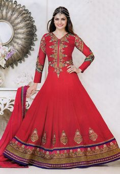 Fuchsia color georgette designer embroidered semi stitched anarkali suit. Crafted with work of patch work, embroidered, lace. Its top length is 48 inch. It can stitched up to size 44. Sleeve can stitched up to size 22 inch. (Slight color variation is Possible.)