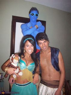 Jasmine, Aladdin and Genie - Homemade Halloween Costumes< let me just point out that Aladdin is SPARKLING.