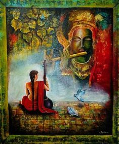 Buy artwork number , a famous painting by an Indian Artist . Indian Art Ideas offer contemporary and modern art at reasonable price. Krishna Painting, Krishna Art, Radhe Krishna, Krishna Images, Lakshmi Images, Religious Paintings, Indian Art Paintings, Bengali Art, Lord Krishna Wallpapers