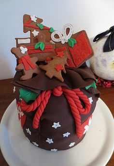 Panettone (typical Italian Christmas dessert) decorated with fondant