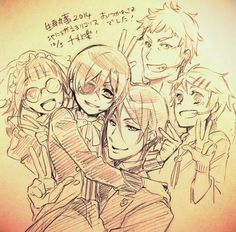 Kuroshitsuji - Sebastian, Ciel, Bard, Finnie y Mey Rin