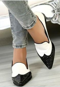 Classy Black and White Pointed Toe Flat Shoes | CocoCouture | ASOS Marketplace