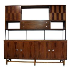 Items similar to Original Mid-Century Modern Stanley Furniture Walnut Credenza China Cabinet Wall Unit Sideboard on Etsy Mod Furniture, Stanley Furniture, Furniture Storage, Mid Century Modern Buffet, Mid Century Modern Furniture, Vintage China Cabinets, Modern Wall Units, Studio Apartment Decorating, Wall Storage