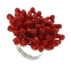 Natural Coral #Finger #Ring, with Crystal & Iron, Flower, platinum color plated, red http://www.beads.us/product/Natural-Coral-Finger-Ring_p72067.html?Utm_rid=219754
