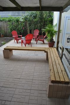 Cheap outdoor landscape timber bench seating Materials: 9 landscape timber posts 8ft 3x3: Lowe's #461808 4 posts for each side & 1 to cut to lock the seating in place. 92 4x8 inch x 1.8 inch depth pavers: Home depot #10502155 8 cinder blocks 8 x 8 x 16. 4 for the corner & 2 each for the ends: Lowe's #10383 16 x 4-1/2 inch (fasten-Master) Wood Screws: Lowe's #194827 3 tubes of locktite landscape block adhesive: Home depot #1683231 Maximum Cedar Natural Tone Stain Sealer: Lowe's #33474