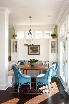 turquoise wicker. breakfast nook