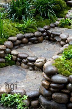 Steps of stone and pebbles cobbles Zen oriental Japanese style Design: Kazuyuki Ishihara Rhs Chelsea Flower Show 2012. Satoyama Life Garden. Gold Award. Marcus Harpur