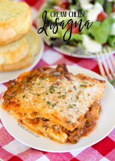 Cream Cheese Lasagna - AMAZING! This lasagna is THE BEST! The cream cheese filling makes the casserole! Everyone LOVED the addition of the pepperoni!! Can make ahead of time and refrigerate or freezer for later. Lasagna noodles, hamburger, pepperoni, spaghetti sauce, cream cheese, cottage cheese, sour cream, parsley, mozzarella and parmesan cheese. SO GOOD! We make this every Christmas Eve. YUM!