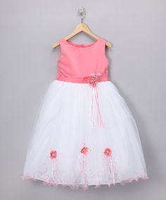 Coral Rose Satin Dress - Toddler & Girls #zulily #zulilyfinds