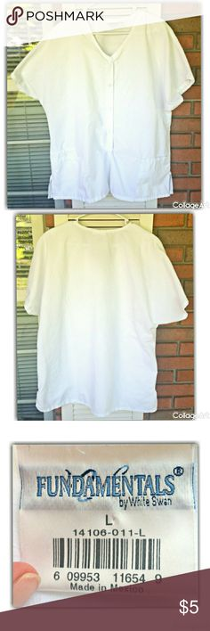 White snap closure top by Fundamentals V-neck snap front/65%polyester,35%cotton. Machine wash warm, tumble dry medium. Size large. Fundamentals Tops