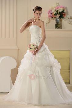 #TideBuy - #TideBuy Gorgeous Strapless Pick-Ups Appliques Sequins Wedding Dress - AdoreWe.com