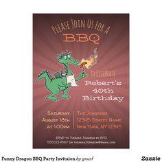 Shop Funny Dragon BBQ Party Invitaion Invitation created by gnurf. Birthday Bbq, 30th Birthday Parties, Beach Theme Wedding Invitations, Birthday Invitations, Zazzle Invitations, Invitation Cards, Photo Invitations, Invites, Funny Dragon