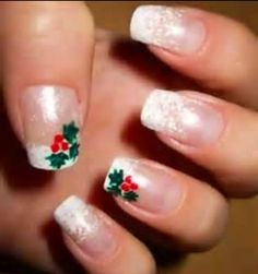 Holiday Christmas Nail Art Holly Pinterest French Nails Beauty Ideas And