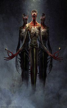 The Dark Choir - Dark Heresy - Warhammer - Roleplay - Horror Fantasy - Sci-fi Dark Fantasy Art, Fantasy Kunst, Dark Art, Monster Art, Fantasy Monster, Dark Creatures, Fantasy Creatures, Mythical Creatures, Illustration Fantasy