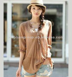 women colors fashion korean summer long sleeve blouse