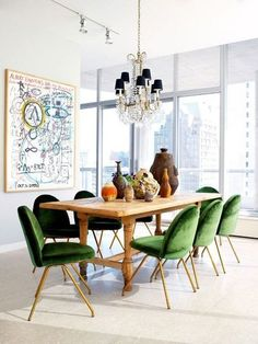 5 Simple Ways to Make Your Dining Room Feel New. A traditional chandelier looks fresh in a modern space designed by Nate Berkus.