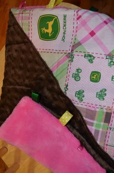 Pink John Deere Themed Baby Tuggie Blanket by TexasCreatedCrafts, $15.00
