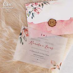Blush - Convite com envelope aquarelado Wedding Invitation Video, Wedding Invitations, Wedding Night, Green Wedding, Sweet Fifteen, Boquet, Marry Me, Handicraft, Save The Date