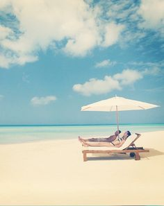 LOOK, Baby!!!! They've got our spot ALL ready for us!!!!! ... Let's just sit back & relax on a sunlounger and enjoy amazing ocean views at Parrot Cay, Turks & Caicos