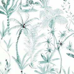 Walls Republic x Natural Desert Tropics Wallpaper Color: White / Teal Teal Tropical Wallpaper, Botanical Wallpaper, Tropical Bathroom, Tropical Decor, Funky Bathroom, Master Bathroom, Bathroom Ideas, Industrial Bathroom, White Bathroom