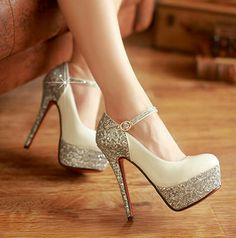 shoe cover on sale at reasonable prices, buy Belt button wedding shoes sexy shoes pointed toe stiletto platform crystal shoes bride shoes from mobile site on Aliexpress Now! Prom Shoes, Wedding Shoes, Women's Shoes, Me Too Shoes, Shoe Boots, Sparkly Shoes, Glitter Heels, Bling Heels, Stiletto Heels