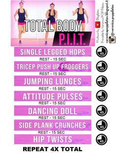 This is a Printable version of the Blogilates Total Body PIIT video workout (you can find it on Youtube). PIIT stands for Pilates Intense Interval Training: it is the perfect workout for building up muscles while burning fat! Give this free workout a try and if you want more join us on the 28 days Challenge here: https://www.piit28.com/a/787/B69Y44oo