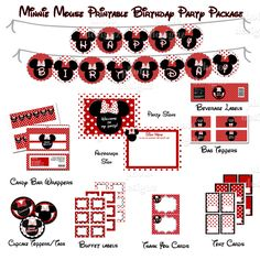 50% off - DIY Printable Minnie Mouse Inspired  Birthday Party Package  - Red polka dots. $5.00 USD, via Etsy.