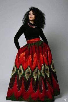 Maxi skirt, with side pockets and back zipper ankara fashion