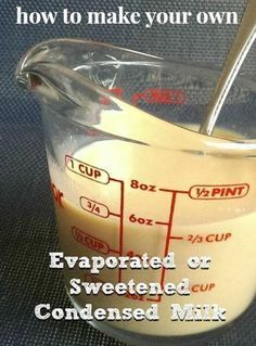 """Homemade Evaporated Milk Evaporated Milk Recipe 4 cups of milk Small pot Pour the milk into the pot on the stove. Turn the stove to """"low."""" Keep the milk hot, but not boiling, until the milk has evaporated to half its size (about 2 hours). Evaporated Milk Recipes, Condensed Milk Recipes, Homemade Sweetened Condensed Milk, Substitute For Condensed Milk, Pumpkin Pie Recipe Without Evaporated Milk, Dairy Free Evaporated Milk, Cornstarch Substitute, Milk Substitute For Cooking, Heavy Cream Substitute"""