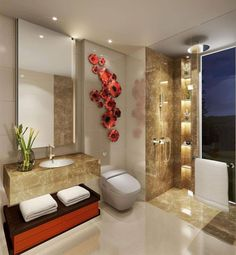 Bathroom With Textured Wall Tile Design By Interior Designer
