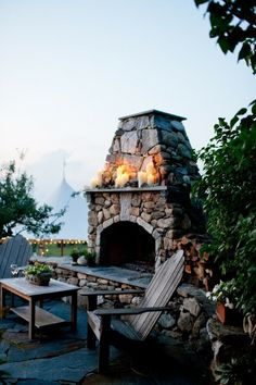 Stacked stone outdoor fireplace