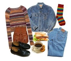 """""""Cozy autumn look."""" by touchingartt ❤ liked on Polyvore featuring Levi's, Zara, Accessorize and Dr. Martens"""