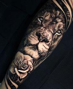 Lion Tattoo Sleeves, Mens Lion Tattoo, Arm Sleeve Tattoos, Skull Tattoos, Girl Tattoos, Men Tattoos, Lion Sleeve, Gangsta Tattoos, Cross Tattoos