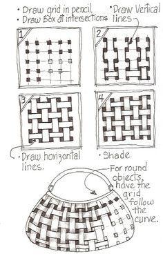 Basket Weave -Step by Step Zentangle Pattern Zentangle Drawings, Doodles Zentangles, Doodle Drawings, Tangle Doodle, Zen Doodle, Doodle Art, Zantangle Art, Op Art, Grafic Design