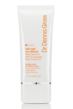 If you're dealing with dark spots, this SPF protects the sun from causing more and helps diminish the ones you have with the vitamin C and melatonin its packed with. Dr. Dennis Gross Dark Spots Sun Defense Broad Spectrum SPF 50 Sunscreen, $42   - Cosmopolitan.com