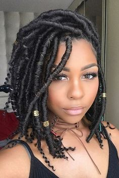 Faux locs is a hairstyle similar to box braids whereas faux locs are intended to be a permanent extension of your hair. Faux locs are installed by twisting or braiding the real hair and then wrapping additional hair around the shaft of the braid. Faux Locs Hairstyles, My Hairstyle, Protective Hairstyles, Girl Hairstyles, Black Hairstyles, Evening Hairstyles, Goddess Hairstyles, Hairstyles Videos, Hairstyles 2018