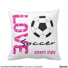 Love Soccer Street Style Pink Pillow