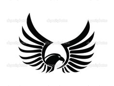 Eagle Hawk Falcon - Two Wings - Black version, vector — Stock ...