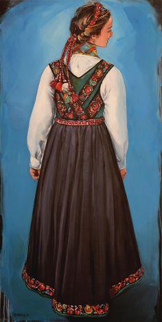 Kari fra Tinn1. Kari Wang maleri. Akryl på lerret 60x120 cm. Folk Costume, Costumes, Belly Dancers, Ethnic Jewelry, Art Sketchbook, Norway, Illustrator, Weaving, Doll