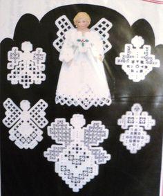 Lot of 3 Hardanger angel patterns Hanky Panky Desi