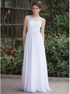 A-Line/Princess Scoop Neck Floor-Length Chiffon Tulle Wedding Dress With Ruffle Flower(s) (016026255) - JJsHouse