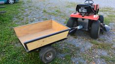 home made dump cart tractor Homemade Trailer, Trailer Diy, Small Trailer, Trailer Build, Lawn Tractor Trailer, Lawn Mower Trailer, Lawn Tractors, Atv Trailers, Dump Trailers