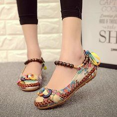 Summer Women Casual Cotton Flax Outdoor Comfortable Round Toe Flat Loafer Shoes - US$23.56