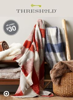 Pillows and throw blankets are essential for cuddling up on the couch, plus they add great aesthetic warmth to a space as well. So pile on soft mohair wool and faux fur—the more, the toastier. And at $30, comfy cozy doesn't have to cost you. Threshold, only at Target.