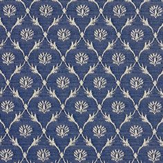 B636 Navy Blue, Floral Trellis Jacquard Woven Upholstery Fabric By The Yard